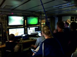 Not much room around the monitors observing the first HyBIS dive
