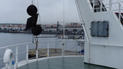 The RRS James Cook arrives in Ponta Delgada, Azores